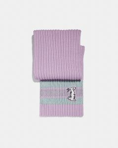 Selena Knit Scarf With Bunny from the Coach X Selena Gomez Fashion Collection