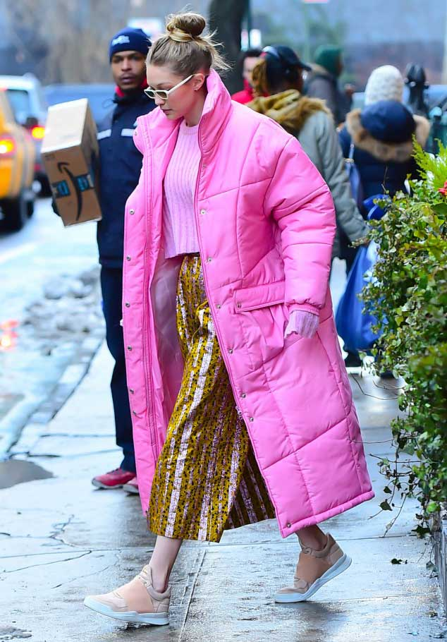 Gigi Hadid wearing Christina Ledang Bubble Long Puffer Coat