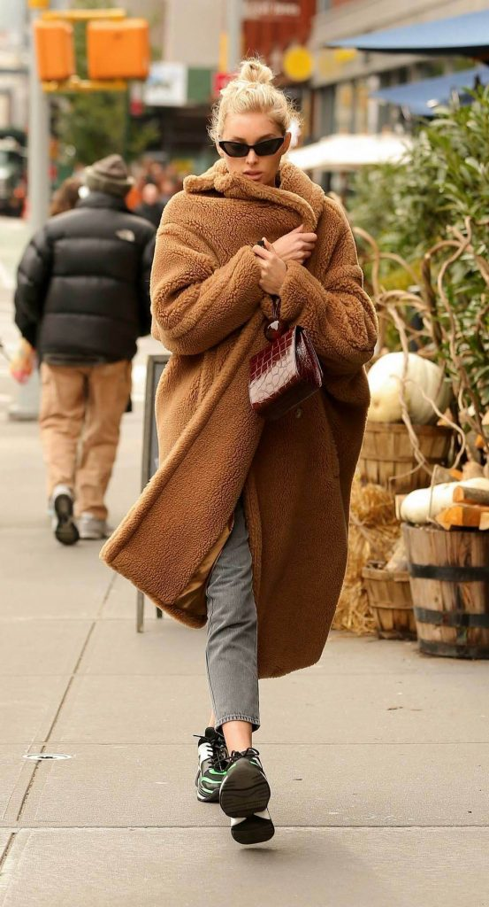 Elsa Hosk wears brown Max Mara teddy coat, teddy bear coat, celebrity winter coats