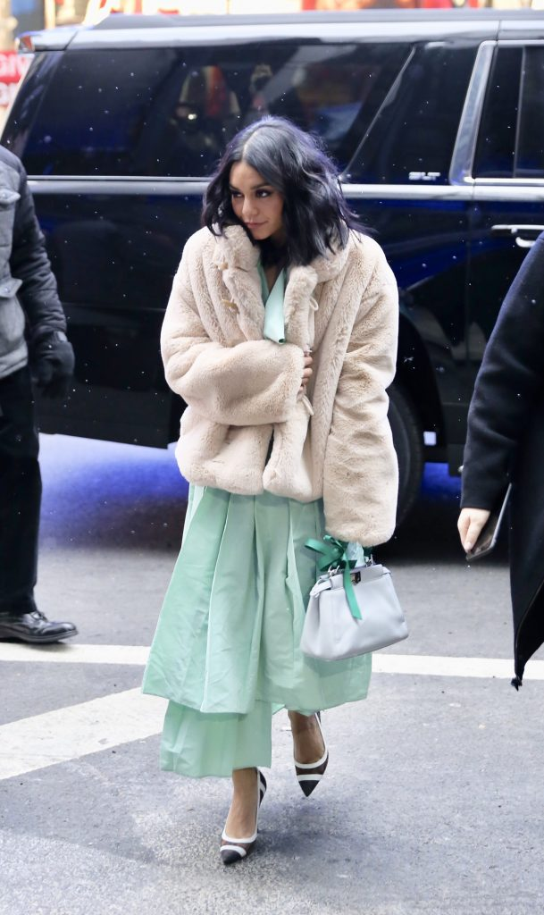 Golden Goose Deluxe Brand Shedir teddy jacket worn by Vanessa Hudgens