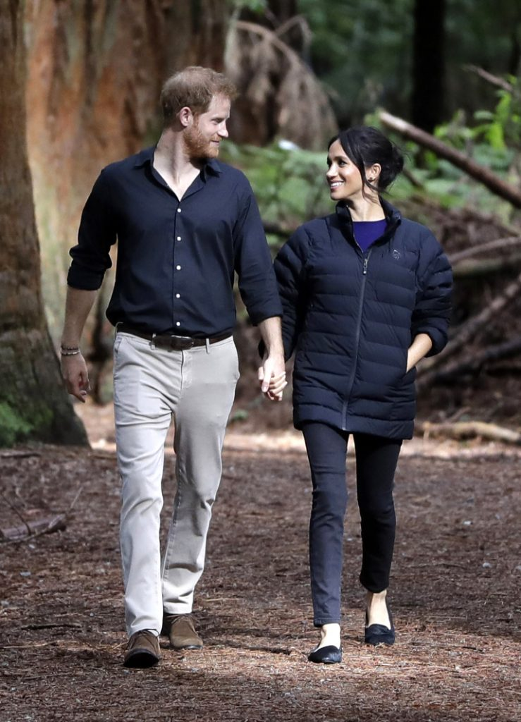 Prince Harry, Duke of Sussex and Meghan, Duchess of Sussex visiting New Zealand. Meghan Markle wearing Norrona Oslo Lightweight Down850 Jacket