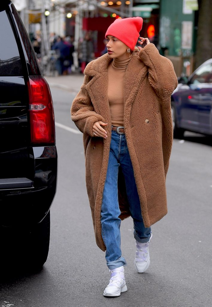 Hailey Bieber wearing Teddy Bear Icon teddy coat - Teddy Bear Icon Coat. Celebrity Winter Coats