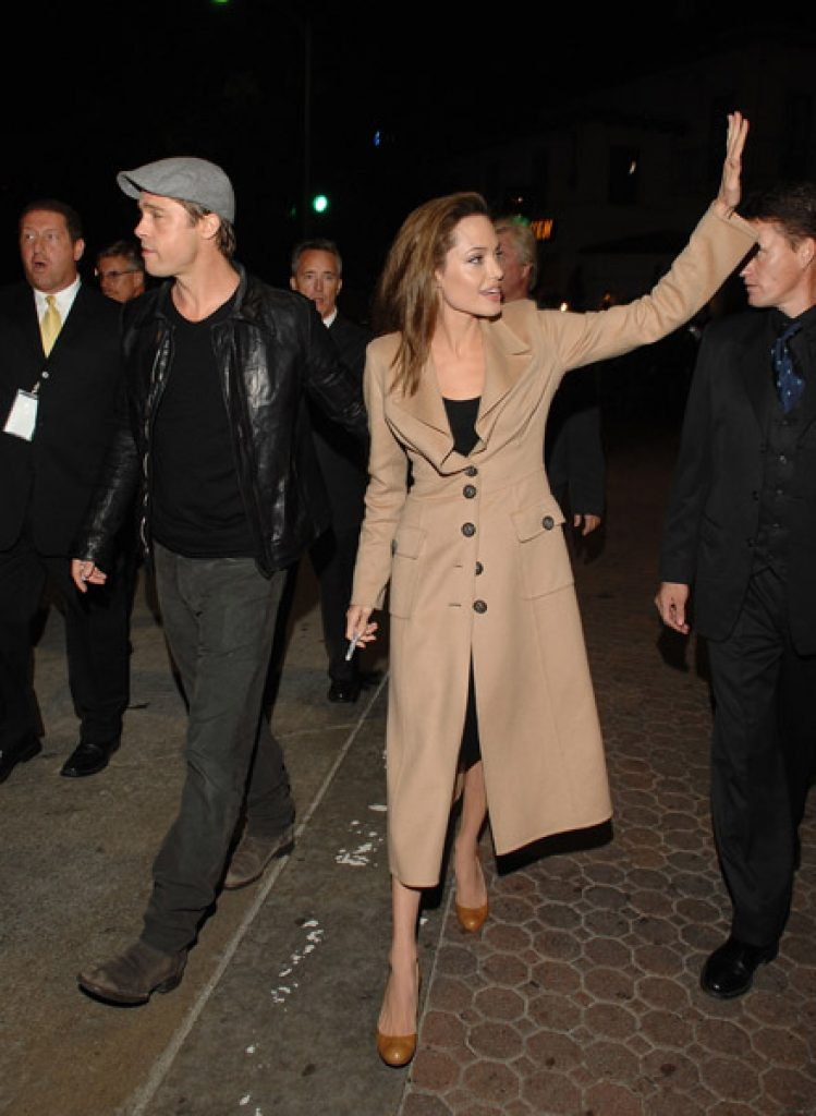 """Angelina Jolie arrives at the Los Angeles Premiere of """"Beowulf"""" at Westwood Village on November 5, 2007 in Weswood, California."""