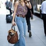 Annalynne Mccord high-waisted jeans