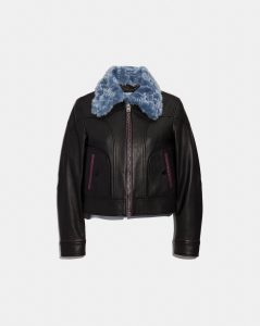 Selena Leather Jacket With Faux Fur from the Coach X Selena Gomez Fashion Collection