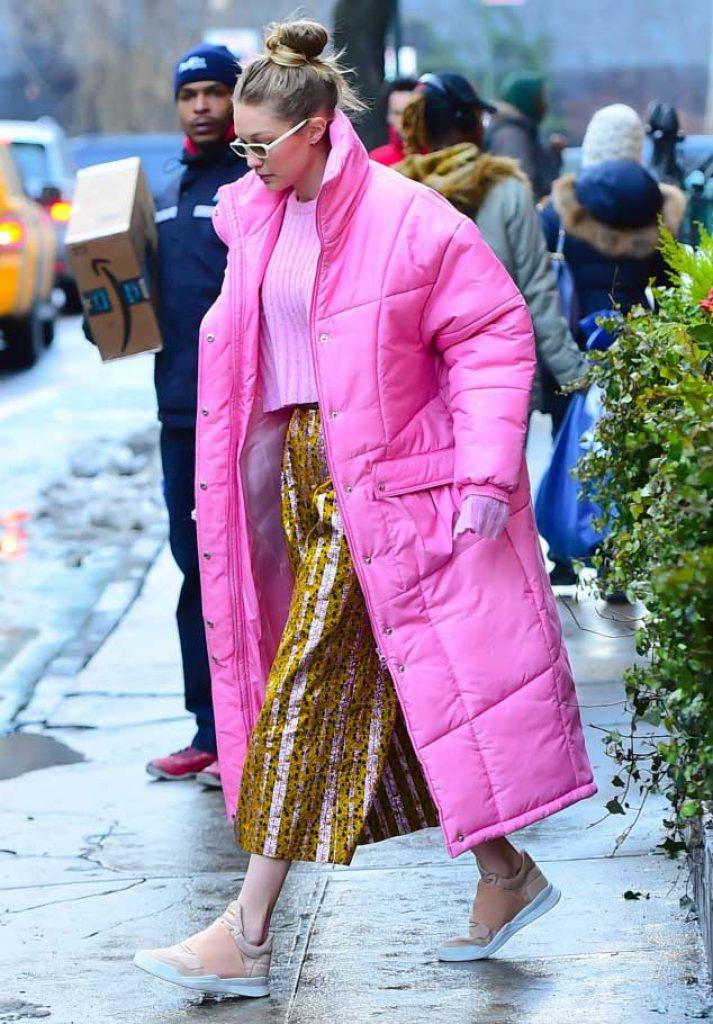 Gigi Hadid wearing Christina Ledang Bubble Long Puffer Coat