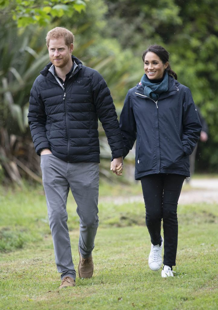 Prince Harry, Duke of Sussex and Meghan, Duchess of Sussex visiting New Zealand. Prince Harry wearing Norrona Oslo Lightweight Down850 Jacket