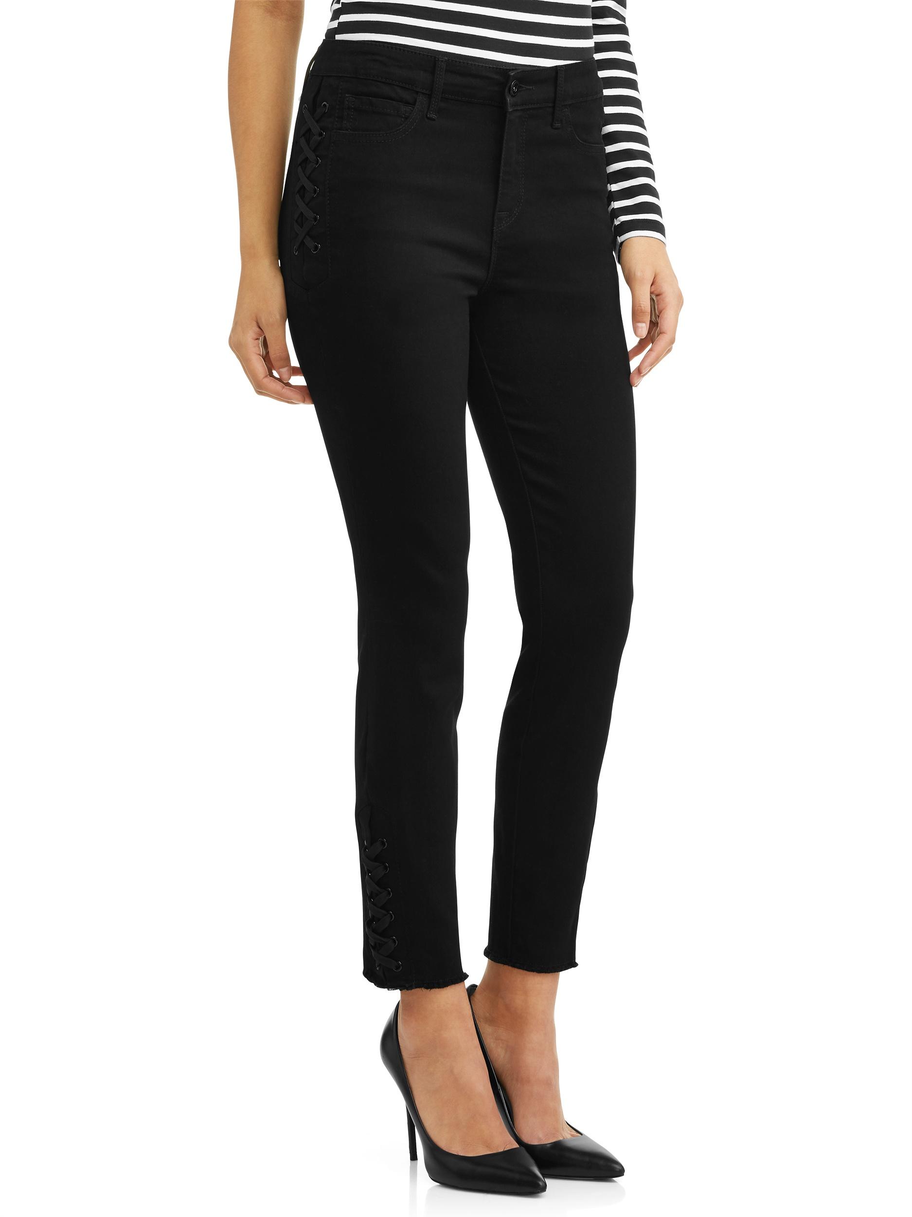 Sofía Jeans by Sofía Vergara Rosa Lace-Up Curvy Hi Rise Stretch Ankle Jean (Black)
