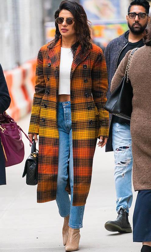 Celebrity Fashion, Fall Plaid Coat Trend. Priyanka Chopra