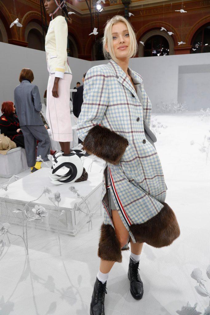 Celebrity Fashion, Fall Check Coat Trend, Elsa Hosk,