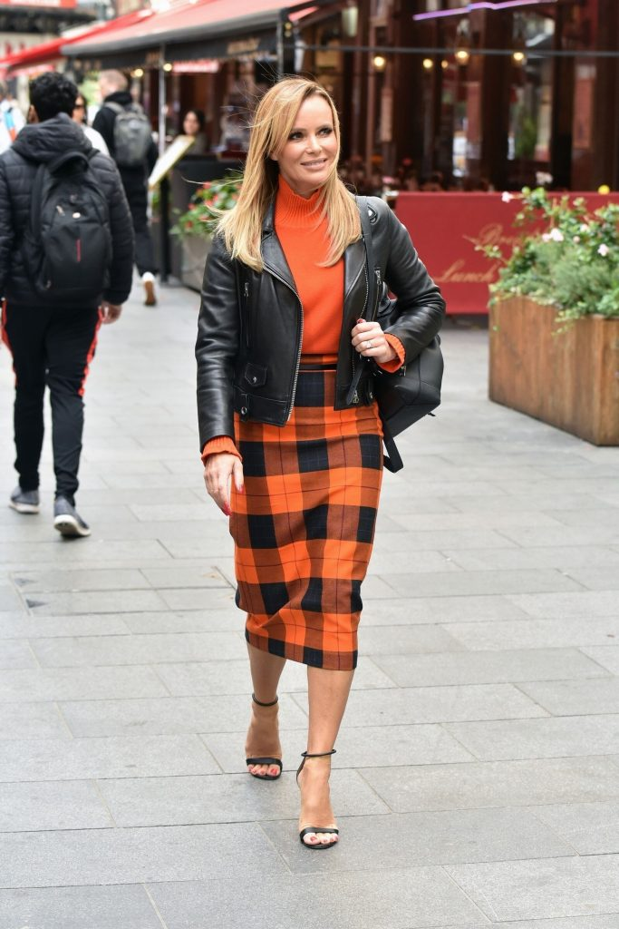 Celebrity Fashion, Fall Check Plaid Trend, Amanda Holden