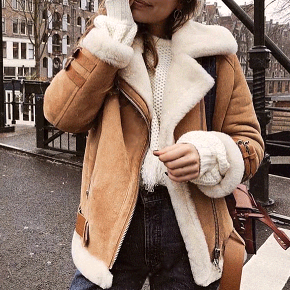 SWODE Oversized Shearling Biker Jacket Coat
