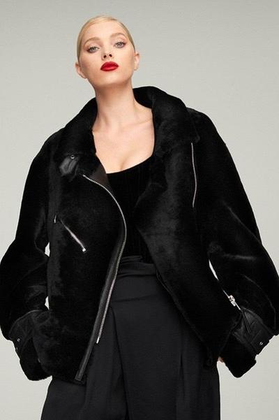 celebrity winter jackets, bomber jacket, Nicole Benisti Greenwich Shearling Biker Jacket