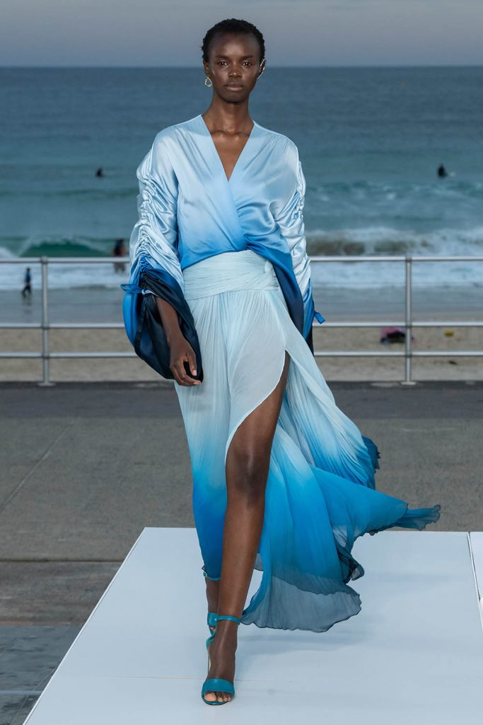Jonathan Simkhai Australia Resort 2020, ombre skirt. ombre wrap top, degrade clothing, dégradé clothing