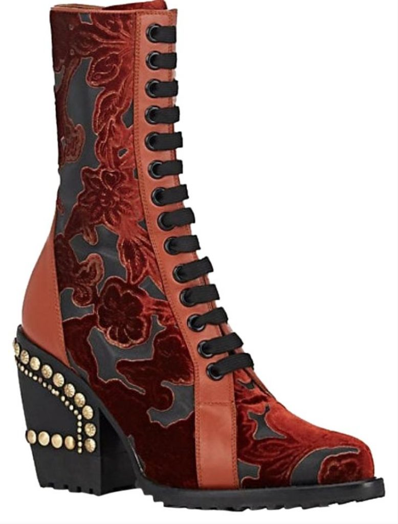 the look for less, designer shoes,  Chloé Red Rylee Studded Brocade and Appliquéd Burnt Boots