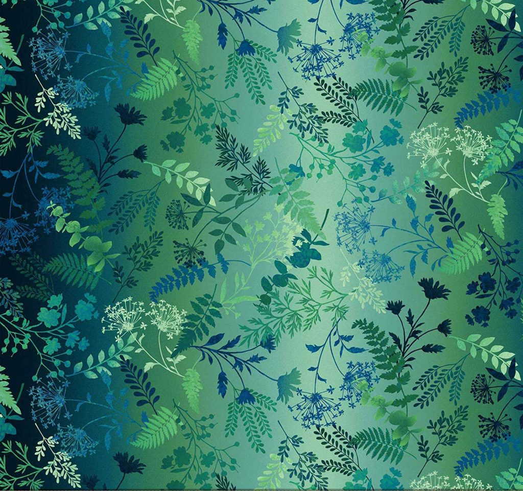 woodland and wild flower print, green and navy