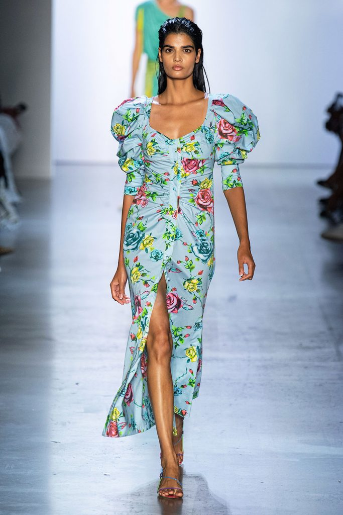 nyfw trends, puffy sleeve dress, floral print trend, puff sleeve dress,