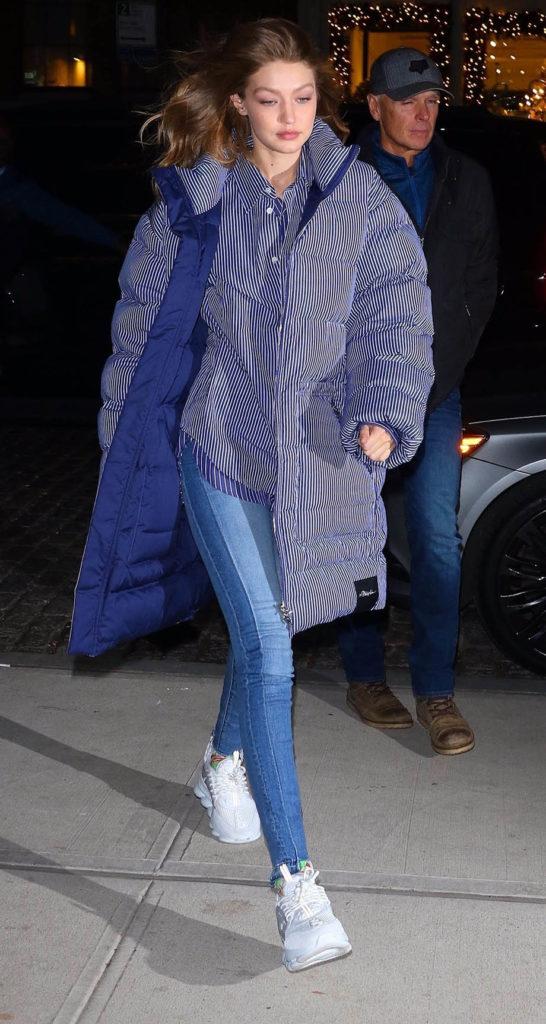 Gigi Hadid wears long puffer coat - Striped Oversized Down Coat by 3.1 Phillip Lim