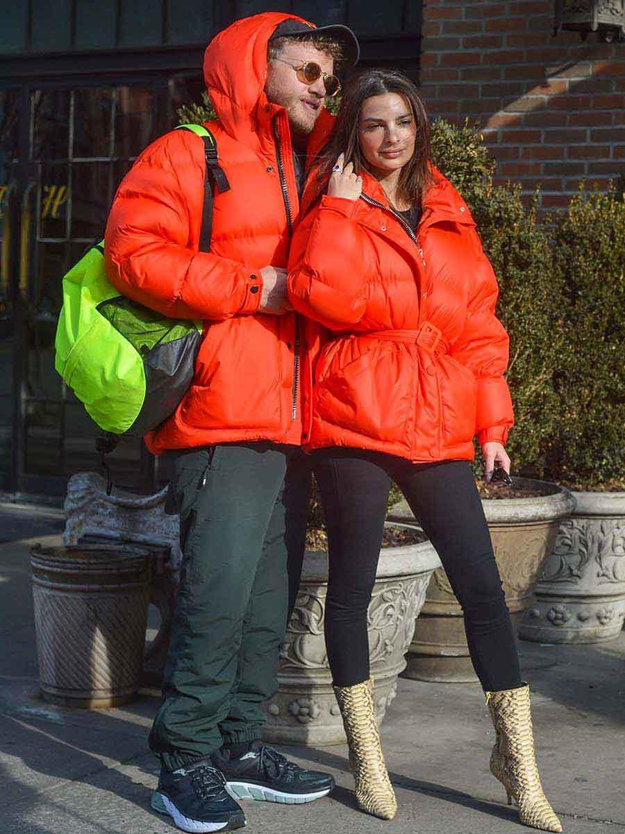 Emily Ratajkowski and her husband Sebastian Bear-McClard. Ienki Ienki Michlin Puffer Jacket. Celebrities wearing winter coats