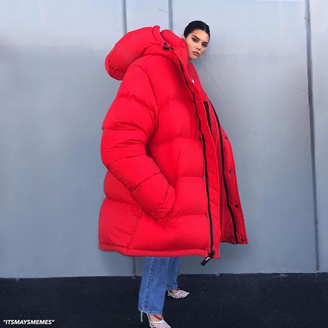 celebrity winter coats, celebrity puffer jackets, kendall jenner, red puffer coat, kylie jenner puffer jacket, meme, bubble coat, bubble jacket, big puffer jacket, big bubble coat, puffer coat