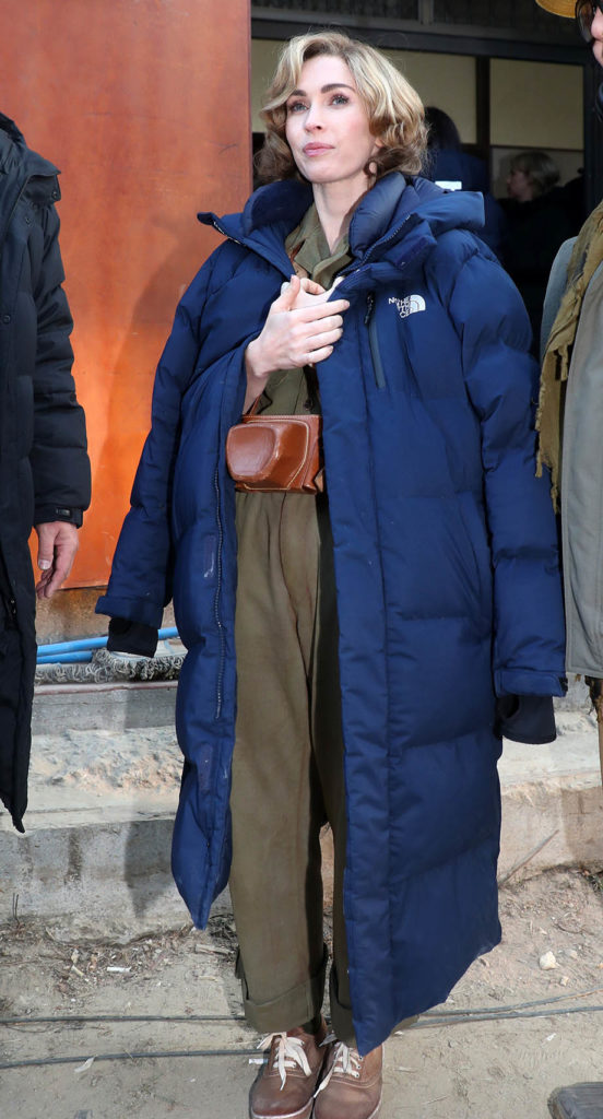 Megan Fox in The North Face Nuptse Duster Long Puffer Coat