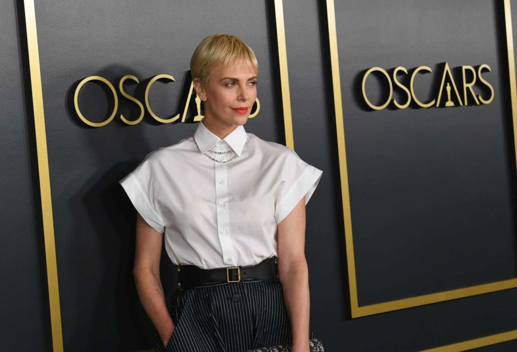 black skirt white top, outfit id, ootd, celebrity, outfit of the day, Charlize Theron, Christian Dior