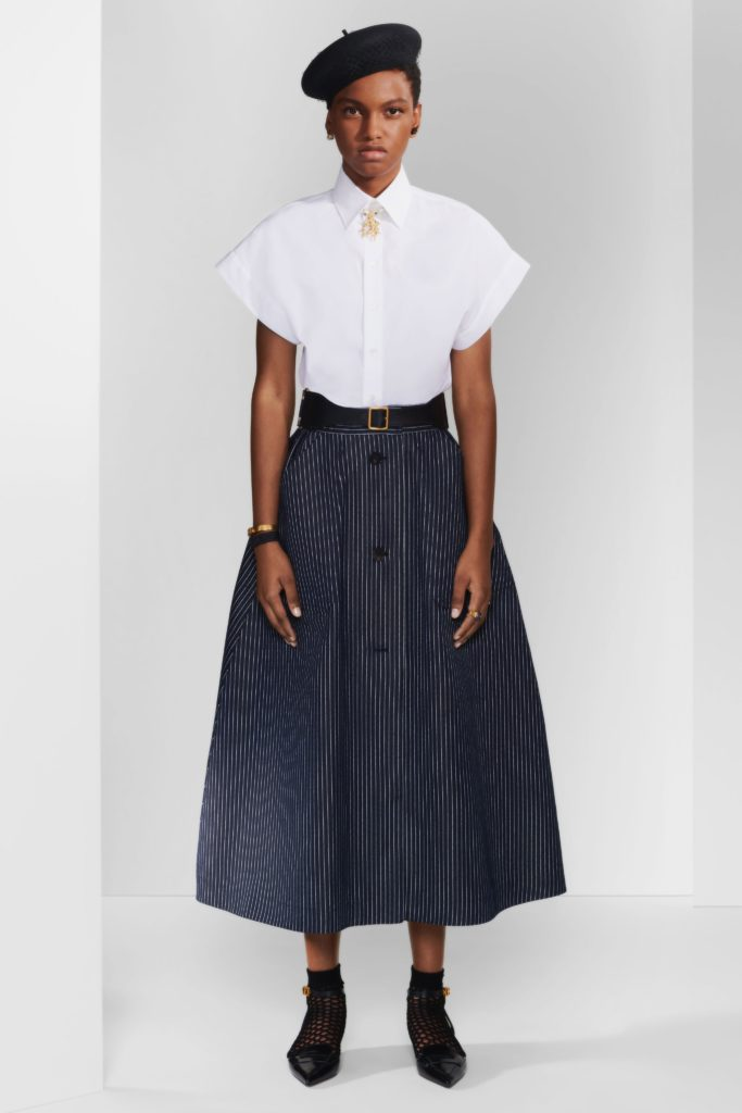 black skirt white top, skirt outfits, Christian Dior Pre-Fall 2020