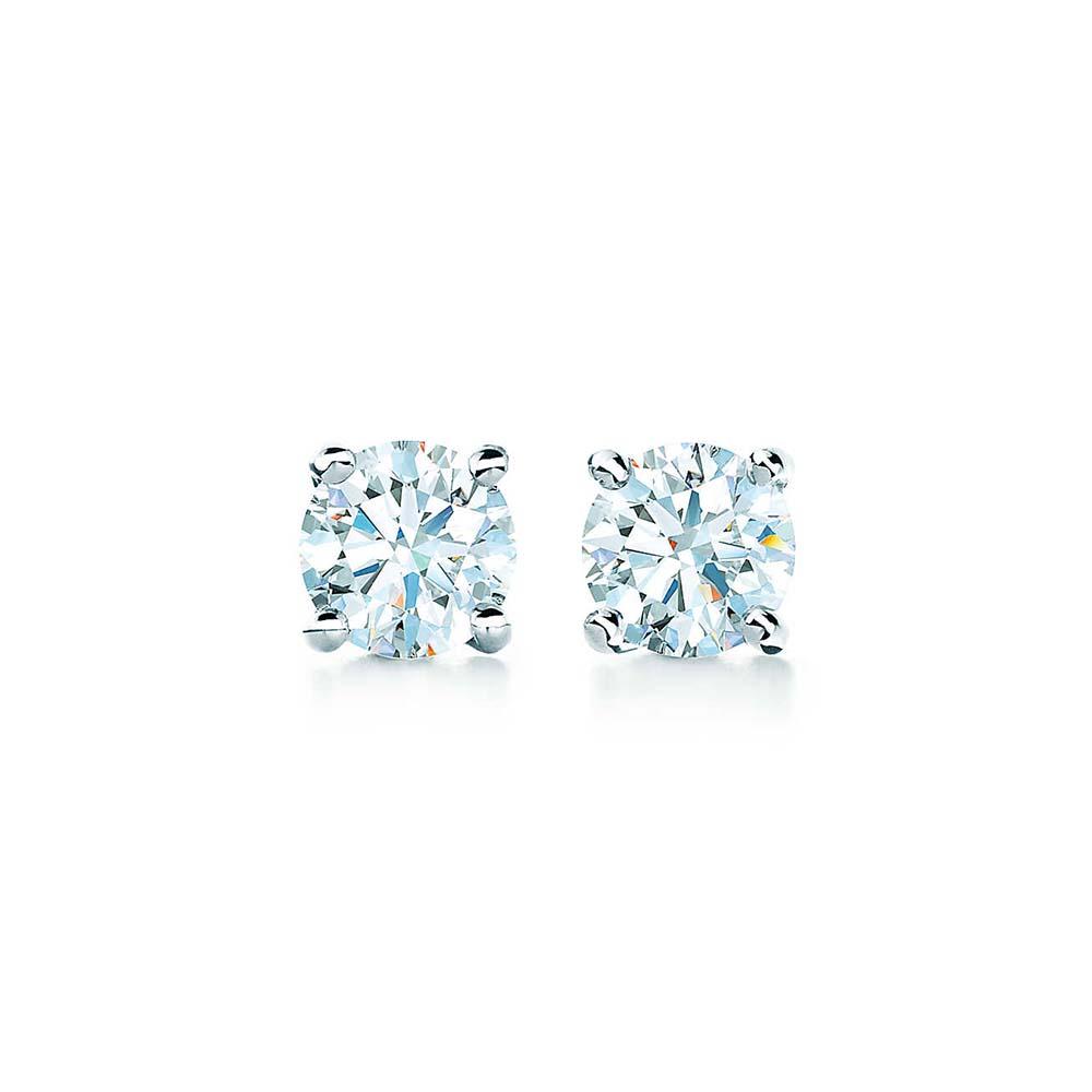 solitaire diamond earrings, diamond stud earrings, tiffany