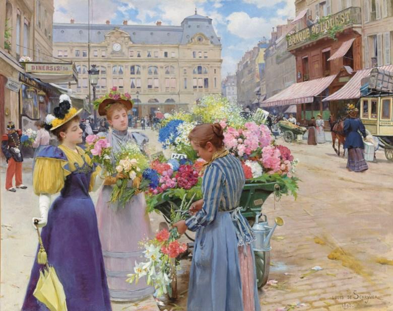 Fashion Week Trends, Retro, Painting, Marchand de fleurs, la rue du Havre, Paris, Louis Marie De Schryver 1893
