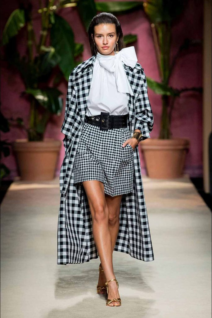 Luisa Spagnoli Spring 2020 Gingham skirt and coat