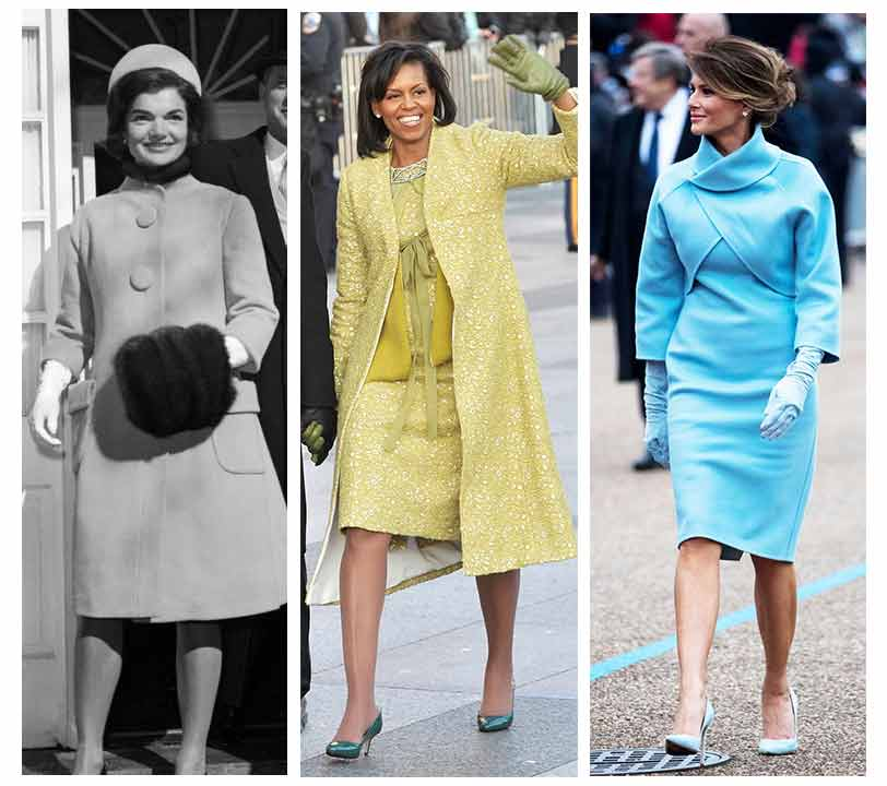 First Lady Fashion, Jackie Kennedy. Michelle Obama, Melania Trump